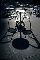 Toronto (ON) CANADA, April 20, 2007<br /> <br /> shadow of a table and chairs near Eaton Center in Toronto<br /> <br />     photo by Pierre Roussel - Images Distribution