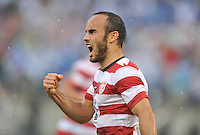 Landon Donovan (10) of the USMNT celebrates his score.  The USMNT defeated El Salvador 5-1 at the quaterfinal game of the Concacaf Gold Cup, M&T Stadium, Sunday July 21 , 2013.