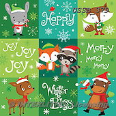 Sarah, CHRISTMAS ANIMALS, WEIHNACHTEN TIERE, NAVIDAD ANIMALES, paintings+++++XMASwoodlandsquares-15-A,USSB379,#xa#
