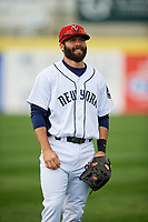 Binghamton Rumble Ponies shortstop Levi Michael (3) warms up prior to a game against the Erie SeaWolves on May 14, 2018 at NYSEG Stadium in Binghamton, New York.  Binghamton defeated Erie 6-5.  (Mike Janes/Four Seam Images)