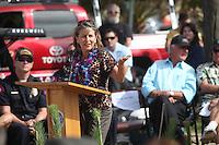 May 23, 2013: Ocean Beach, San Diego, California, USA:  San Diego City Council Member Lorie Zapf speaks at the San Diego Lifeguard Bronze Memorial Dedication Ceremony.