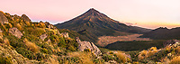 Dusk over Taranaki, Mt. Egmont and alpine vegetation, Egmont National Park, North Island, New Zealand, NZ