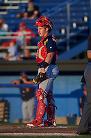 State College Spikes catcher Jesse Jenner (15) during a game against the Batavia Muckdogs August 22, 2015 at Dwyer Stadium in Batavia, New York.  State College defeated Batavia 5-3.  (Mike Janes/Four Seam Images)