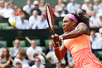 June 3, 2015: Serena Williams of United States of America in action in a Quarterfinal match against Sara Errani of Italy on day eleven of the 2015 French Open tennis tournament at Roland Garros in Paris, France. Williams won 61 63. Sydney Low/AsteriskImages