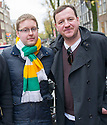 Celtic fans, Michael Cannon, and Tommy Donnelly,  who were caught up in the fighting at Dam Square, Amsterdam after the Celtic fans party ahead of the game against Ajax.<br /> <br /> <br /> <br /> 07/11/2013   Copyright  Pic : James Stewart  <br /> jsp036_celtic_fans   <br /> James Stewart Photography 19 Carronlea Drive, Falkirk. FK2 8DN  <br /> Vat Reg No. 607 6932 25  <br /> Tel : +44 (0)7721 416997  <br /> E-mail  :  jim@jspa.co.uk  <br /> If you require further information then contact Jim Stewart on the number above......