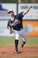 Relief pitcher Derick Himpsl (47) of the Danville Braves in action at Dan Daniels Park in Danville, VA, Sunday July 27, 2008.