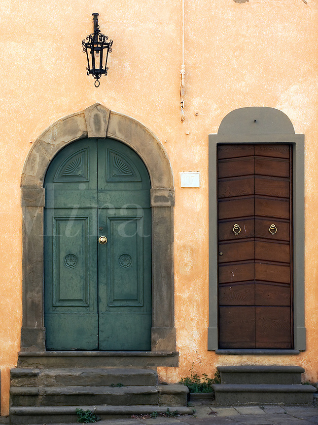 Entry doors to houses at the Comune di Capannori in village of Castelvecchio, Tuscany, Ital