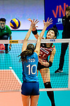 Ai Kurogo of Japan (R) attacks during the FIVB Volleyball Nations League Hong Kong match between Japan and Argentina on May 31, 2018 in Hong Kong, Hong Kong. Photo by Marcio Rodrigo Machado / Power Sport Images