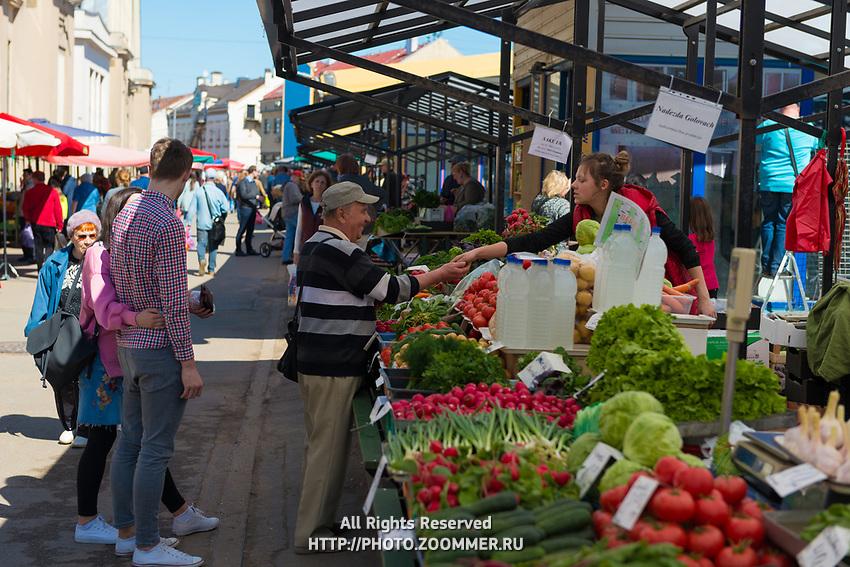 Vegetable stalls in Central market of Riga, Latvia