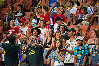 Fans in the grandstand on day two of the 2020 HSBC World Sevens Series Hamilton at FMG Stadium in Hamilton, New Zealand on Sunday, 26 January 2020. Photo: Dave Lintott / lintottphoto.co.nz