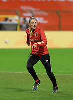 Belgian Tessa Wullaert (9) pictured during the warm up before a friendly female soccer game between the national teams of Belgium , called the Red Flames and The Netherlands , called the Oranje Leeuwinnen in a pre - bid tournament called Three Nations One Goal with the national teams from Belgium , The Netherlands and Germany towards a bid for the hosting of the 2027 FIFA Women's World Cup , on Thursday 18 th of February 2021  in Brussels , Belgium . PHOTO SPORTPIX.BE | SPP | SEVIL OKTEM