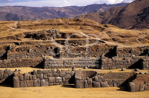 Cusco, Peru. Zigzag Inca stone wall perimeter of the main stronghold of Saqsayhuaman.
