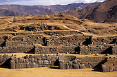 Cusco, Peru. Zigzag Inca stone wall perimeter of the main stronghold of Saqsayhuaman.