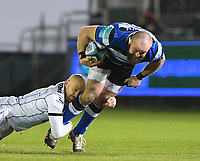 19th February 2021; Recreation Ground, Bath, Somerset, England; English Premiership Rugby, Bath versus Gloucester; Tom Dunn of Bath is tackled by Willi Heinz of Gloucester