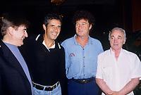 Serge Lama, Julien Clerc, Robert Charlebois.<br /> Charles Aznavour, date inconnue entre 1985 et 1999<br /> <br /> -Photo (c)  Pierre Roussel - Agence Quebec Presse