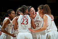 STANFORD, CA - NOVEMBER 17: Sarah Boothe shares a smile with Erica Payne as Stanford hosted Old Dominion University at Maples Pavilion. The Cardinal defeated Big Blue 97-48.