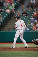Brooklyn Cyclones Luke Ritter (3) at bat during a NY-Penn League game against the Tri-City ValleyCats on August 17, 2019 at MCU Park in Brooklyn, New York.  Brooklyn defeated Tri-City 2-1.  (Mike Janes/Four Seam Images)