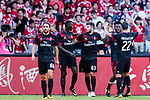 AC Milan Forward #63 Patrick Cutrone (C) celebrating his goal with his teammates during the 2017 International Champions Cup China  match between FC Bayern and AC Milan at Universiade Sports Centre Stadium on July 22, 2017 in Shenzhen, China. Photo by Marcio Rodrigo Machado / Power Sport Images