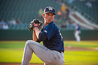 Helena Brewers starting pitcher J.B. Kole (10) warms up in the bullpen before the game against the Ogden Raptors in Pioneer League action at Lindquist Field on August 19, 2015 in Ogden, Utah. Ogden defeated Helena 4-2. (Stephen Smith/Four Seam Images)