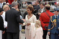 Ottawa (ON) CANADA, July 1st, 2007 -<br /> <br /> Michaelle Jean Governor General is greeted by Stephen Harper (L)<br />  near the Parliament during<br /> Canada day celebration in the national capital.<br /> photo : (c)  Michel Karpoff - Images Distribution