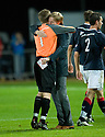 FALKIRK MANAGER STEVEN PRESSLEY CELEBRATES WITH KEEPER MICHAEL MCGOVERN AT THE END OF THE GAME