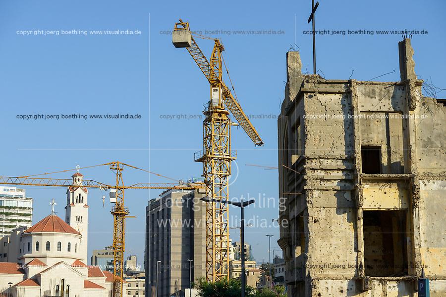 LEBANON, Beirut, war ruins , destroyed church and new church / LIBANON, Beirut, im Krieg zerstoerte Gebaeude