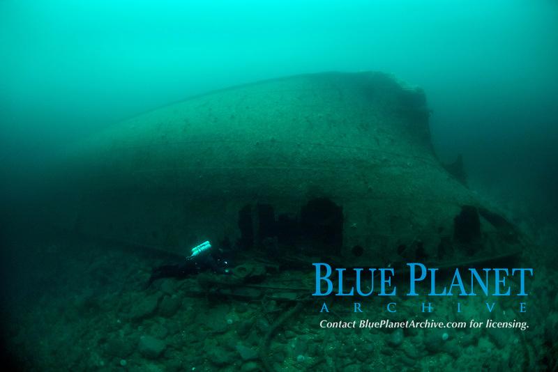 Diver and WW2 Wreck, DS Saude, 13. November 1944 Saude was rammed by a Germen submarine U-1052, when going through Vatlestraumen. Bergen, Hordaland, Norway, North Atlantic Ocean