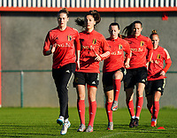 20200911 - TUBIZE , Belgium : Heleen Jacques, Amber Tysiak, Hannah Eurlings, Lenie Onzia and Janice Cayman pictured during the training session of the Belgian Women's National Team, Red Flames ahead of the Women's Euro Qualifier match against Switzerland, on the 28th of November 2020 at Proximus Basecamp. PHOTO: SEVIL OKTEM   SPORTPIX.BE