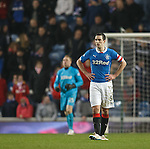 Rangers captain Lee Wallace is gutted as Hibs score their second goal