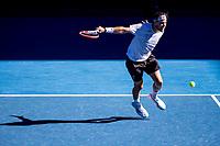 14th February 2021, Melbourne, Victoria, Australia; Dominic Thiem of Austria returns the ball during round 4 of the 2021 Australian Open on February 14 2020, at Melbourne Park in Melbourne, Australia.
