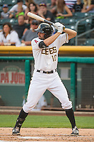 Kyle Kubitza (10) of the Salt Lake Bees at bat against the Iowa Cubs in Pacific Coast League action at Smith's Ballpark on August 20, 2015 in Salt Lake City, Utah. The Cubs defeated the Bees 13-2. (Stephen Smith/Four Seam Images)