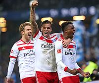 26.11.2017, Football 1. Bundesliga 2017/2018, 13. Match Day, Hamburger SV - TSG 1899 Hoffenheim, im Volksparkstadion Hamburg. Jubel  Sven Schipplock (Hamburg) , Dennis Diekmeier (Hamburg) und Torschuetze Gideon Jung (Hamburg) celebrates scoring to 3:0 *** Local Caption *** © pixathlon +++ tel. +49 - (040) - 22 63 02 60 - mail: info@pixathlon.de<br /> <br /> +++ NED + SUI out !!! +++
