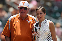 Texas Longhorns head coach Augie Garrido is interviewed by ESPN reporter Kaylee Hartung during the NCAA Super Regional baseball game against the Houston Cougars on June 7, 2014 at UFCU Disch–Falk Field in Austin, Texas. The Longhorns are headed to the College World Series after they defeated the Cougars 4-0 in Game 2 of the NCAA Super Regional. (Andrew Woolley/Four Seam Images)