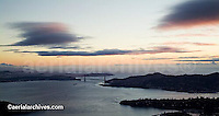 aerial photograph Golden Gate bridge, Marin headlands dusk San Francisco, California