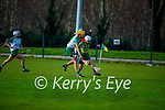 Kerry's Patrice Diggins under pressure from Aoife Minogue of Meath in the Camogie Intermediate Championship