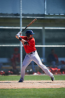Boston Red Sox Jordan Betts (19) bats during a minor league Spring Training game against the Baltimore Orioles on March 16, 2017 at the Buck O'Neil Baseball Complex in Sarasota, Florida. (Mike Janes/Four Seam Images)