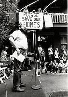 FILE PHOTO - Arnold Bennett adressing the Overdale tenants, August 2, 1987.