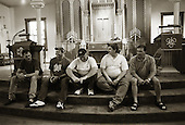 Quecreek, Pennsylvania.July 9, 2003..REUNION: Five of the nine rescued miners gather. They are Dennis Hall, Mark Popernack, John Unger, Randy Fogle and Robert Pugh. ..