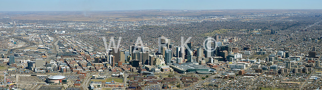Denver skyline aerial panoramic.  April 2014