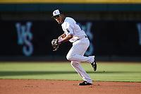 Winston-Salem Dash second baseman Lenyn Sosa (25) on defense against the Greensboro Grasshoppers at Truist Stadium on June 15, 2021 in Winston-Salem, North Carolina. (Brian Westerholt/Four Seam Images)
