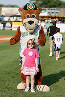July 3, 2007: Kane County Cougars Mascot and young fan at Elfstrom Stadium in Geneva, IL  Photo by:  Chris Proctor/Four Seam Images
