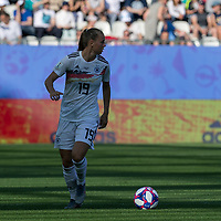 GRENOBLE, FRANCE - JUNE 22: Klara Buehl #19 of the German National Team looks to pass during a game between Panama and Guyana at Stade des Alpes on June 22, 2019 in Grenoble, France.