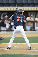 Jake McCarthy (31) of the Virginia Cavaliers at bat against the Wake Forest Demon Deacons at David F. Couch Ballpark on May 19, 2018 in  Winston-Salem, North Carolina. The Demon Deacons defeated the Cavaliers 18-12. (Brian Westerholt/Four Seam Images)