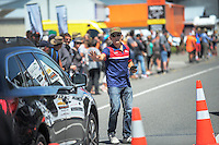 Race organiser Jorge Sandoval stops traffic during stage five of the NZ Cycle Classic UCI Oceania Tour in Masterton, New Zealand on Tuesday, 26 January 2017. Photo: Dave Lintott / lintottphoto.co.nz