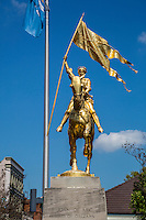 French Quarter, New Orleans, Louisiana.  Joan of Arc Statue, Decatur Street, opposite the French Market.  Copy of an 1880 statue by French sculptor Emmanuel Fremiet.