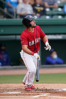 Catcher Kole Cottam (9) of the Greenville Drive during a game against the Brooklyn Cyclones on Friday, May 14, 2021, at Fluor Field at the West End in Greenville, South Carolina. (Tom Priddy/Four Seam Images)