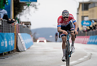Mathieu Van der Poel (NED/Alpecin-Fenix) finishing completely empty after putting on another spectacular show with an impressive 50km solo in harsh conditions on stage 5 from Castellalto to Castelfidardo (205km), resulting in a 2nd stage win in the 56th Tirreno-Adriatico 2021 (2.UWT) <br /> <br /> ©kramon
