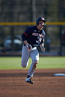 Alex Steinbach (34) of the Illinois Fighting Illini legs out a triple during the game against the Coastal Carolina Chanticleers at Springs Brooks Stadium on February 22, 2020 in Conway, South Carolina. The Fighting Illini defeated the Chanticleers 5-2. (Brian Westerholt/Four Seam Images)