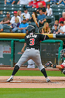 Chris Nelson (3) of the Albuquerque Isotopes at bat against the Salt Lake Bees in Pacific Coast League action at Smith's Ballpark on August 29, 2016 in Salt Lake City, Utah. The Isotopes defeated the Bees 9-4.  (Stephen Smith/Four Seam Images)