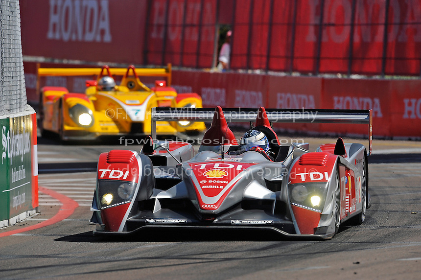 4-5 April 2008, St Petersburg, Florida, USA.Lucas Luhr in the Audi R10 leads the Porsche of Romain Dumas in the closing laps..©2008 F.Peirce Williams, USA .